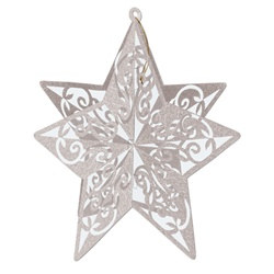 3-D Silver Glittered Star Centerpiece