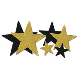 Black and Gold Glittered Star Cutouts (6 Stars Per Package)