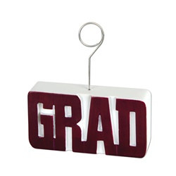 Maroon GRAD Photo/Balloon Holder