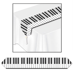 The Printed Piano Keyboard Table Runner is designed to resemble a keyboard on a piano. The Printed Piano Keyboard Table Runner would be a perfect decoration to use at a music recital or jazz party.