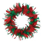 Red and Green Feather Wreath (12 inch)