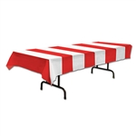 Red and White Striped Plastic Tablecover