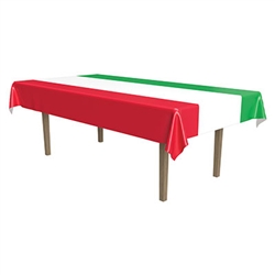 Red White and Green Plastic Tablecover