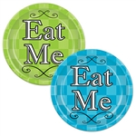 "These colorful Alice in Wonderland Plates say ""Eat Me"" in the middle, with an intricate design in the background. The package comes with four blue and four green plates, with each one measuring nine inches."