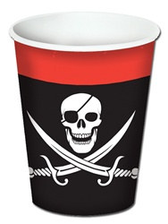 Pirate Beverage Cups, 8 Ozs (8/Pkg), hot/cold