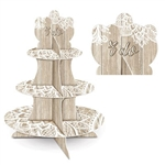 "The Wedding Cupcake Stand is made of cardstock and has a rustic wood appearance and an intricate white design and reads ""I Do"" at the top. Measures 16 in tall. Bottom tier- 12 in, middle tier- 9 in, and top tier- 6 1/4 in. One per pack. Assembly required."