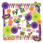 The Cinco De Mayo Decorating Kit makes it quick and easy to turn any space into a fiesta! Over 25 assorted decorations make up this budget friendly kit, with brightly colored tissue fans, garlands, streamers and printed cutouts.