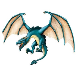 "The Jointed Dragon is made of cardstock and printed on one side. It's blue with large outstretched wings and has an intimidating expression. It measures 4'3"" tall. It's fully jointed, completely assembled, and ready to hang. Contains one per package"