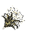 The Push Up Confetti Poppers - Black & Gold is black paper confetti and silver plastic confetti filled in a plastic container. Contains approx. 0.5 ounces per popper. Contains 8 poppers per package. Point away from face and other people.