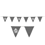The Pirate Fabric Pennant Banner makes a great party accessory for your next pirate themed event. The weathered looking grey fabric pennants alternate with printed pennants featuring a skull design .One 6 foot banner per package.