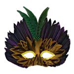 Protect your identity this holiday behind the Mardi Gras Feathered Mask with its purple, black and green feathers,