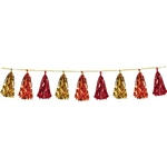 The Metallic Tassel Garland - Gold, Orange, Red measures 8 feet long and contains 12 tassels per garland. Each tassel measures approximately 9 inches long. Contains one (1) garland per package