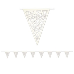 Celebrate the changing seasons and the beautiful flowers blossoming outside by decorating with our Die-Cut Floral Pennant Banner. The banner carries a traditional white color, but the design on the pennants are unique and elegant. Measures 12 feet long.