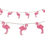 These Flamingo String Lights will surely be the hit of your tropical or luau theme party. The entire string of lights measure six feet in length and the battery-operated lights require 2-AA batteries (not included). Comes one string of lights per package.