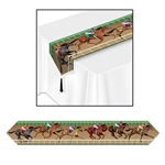 This Printed Horse Racing Table Runner features horses competitively racing on a racetrack. The table runner measures six feet long and it's 11 inches wide at the widest point. It's very colorful and is the perfect table decoration for Derby Day.