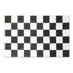 Wave on the drivers at your next race day party with this Checkered flag. Made from polyester material, this flag measures three feet by five feet and features two grommets so it can be easily be hung on a pole. Contains one flag per package.