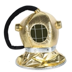 The Fabric Diver Helmet is metallic gold fabric with a silver band around the bottom. Black plush material resembling a tube is attached. Has a face opening with silver string across which gives it a realistic appearance. One size fits most. No returns.