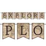 "The Explore Streamer is made of cardstock and the cards are tan and printed with the display of the globe with dark brown letters spelling out ""explore"". Contains 7 cards and one cord per package. Measures 6 feet long. Sold one streamer per package."