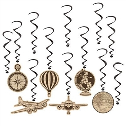 The Around The World Whirls contain 12 pieces per package. (6) whirls have a decorative cardstock icon attached and (6) whirls are plain whirls. The whirls are black metallic swirls. Measurement from 17 inches to 30 1/2 inches long.