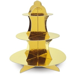The Metallic Cupcake Stand is made of cardstock with a gold metallic foil finish. Measures 13.5 inches tall. Has 3 tiers- bottom measures 12 inches, middle measures 9 inches, and top measures 6 1/4 inches. One per package.
