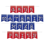 "The Western Streamer Set is printed on one side. Its a 3 in 1 set and can make the phrases ""Grub"", ""Waterin Hole"" and ""Privy"". Printed on red and blue cardstock with a bandana design along the top. Includes 20 cards and 1 12 ft cord. Assembly required."