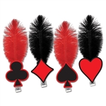 "This Card ""Suit"" Tiara will outfit your casino party guests in style . It's an inexpensive party accessory that embraces the theme of the casino and traditional poker games. These feathered tiaras require a minimum quantity purchase of 50. Not returnable."
