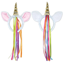 Our Unicorn Headband is so comfortable that you'll likely forget you're even wearing it! It's extremely colorful and features a gold horn between the two ears on the headband. Please note that this item cannot be returned due to hygiene-related concerns.