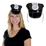 "The Police Hat Headband is a black fabric hat with a silver badge that reads ""Special Police"" connected to a standard black headband. Hat measures approximately 4 inches high. Fits full adult head size. One size fits most. One per package. No returns."