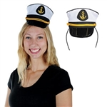 The Yacht Captain's Cap Headband is a white hat with a gold anchor displayed on the front with a black brim. Its attached to a standard black headband. Measures approx 3 in high. One size fits most. Contains one per package. No returns.