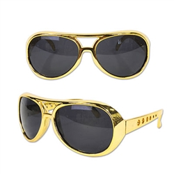 Remember Elvis Presley, the king of rock & roll? Now you can look like him, thanks to these Rock & Roll Glasses! These fashionable glasses feature a gold frame with relatively dark lenses. Comes one pair of glasses per package.