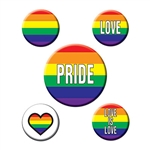 "Our Rainbow Party Buttons are perfect for the occasion. One button is a rainbow, while another is a rainbow heart on a white background. The other three buttons feature the words ""Love"", ""Pride"" and ""Love Is Love"" atop a rainbow background. Five per pack."