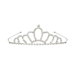 The Royal Rhinestone Tiara is a silver metal tiara embellished with sparkly rhinestones. Its perfect for celebrating your birthday, bachlorette party, or any special occasion! Fits full adult head size. One size fits most. No returns.