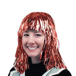 Red Gleam 'N Wear Metallic Party Wig