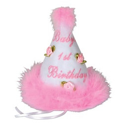 Pink Baby's 1st Birthday Cone Hat