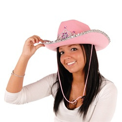 Light-Up Rhinestone Cowgirl Hat, full head size; battery included