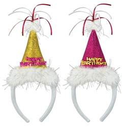 Assorted Happy Birthday Cone Hat Headbands