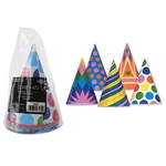 These cone hats feature a fun, colorful design that can brighten up entire a room! These awesome party hats even have the small elastic strap attached. There are assorted designs in the package and comes with a total of eight cone hats.