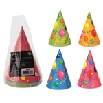 These fun and colorful Balloon & Confetti Birthday Cone Hats. From one year old to 100, these hat is great for the party. From color to comfort, this hat has it all! Comes eight hats per package.