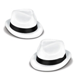 These Velour Havana Chairman Hats feature a one size fits most plastic hat covered in a white flocked material. A black card stock band accents the hat, giving it a sophisticated look. Perfect for a 20's costume, New Years, or theatre production.