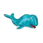 The Whale Hat is a metallic blue fabric with a silver belly. Measures 19 inches long and 6.5 inches high. Made completely of fabric with plush filling. Sized to fit most adults. One per package. No returns.