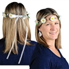 The Daisy Headband is made of white daisies and beads attached to a wrapped wire with a sheer white ribbon on the back. One size fits most. One per pack. No returns.