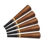 "The Cigar Horns are brown, with the appearance of a real cigar, and have a yellow and white band with the word ""Cuban"" displayed on it. Attached is a black mouthpiece. Made of cardstock and measure 9 inches. Sold in quantities of 100 per box. No returns"