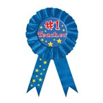 Blue #1 Teacher Rosette Award Ribbon