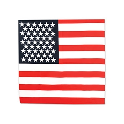 Wear this patriotic bandana with pride. Printed on 100% polyester fabric, in the design of the United States Flag, this great party decoration can be worn with your favorite outfit or simply hung for display.