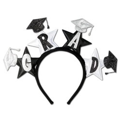 Black and Silver Grad Headband
