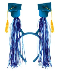 Blue Grad Cap Boppers with Fringe