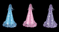 "Fringed Pastel Foil Party Hats, 13"", Assorted Colors, Full Head Size w/Elastics"