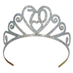 "Glittered Metal ""70"" Tiara"