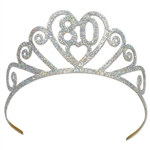 "Glittered Metal ""80"" Tiara"
