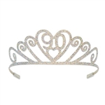 The Glittered Metal 90 Tiara will add some sparkle to the 90th birthday girl's celebration. The intricate design of the silver metal features hearts, swirls, the number 90, and is embellished with silver glitter. One size fits most. No returns.